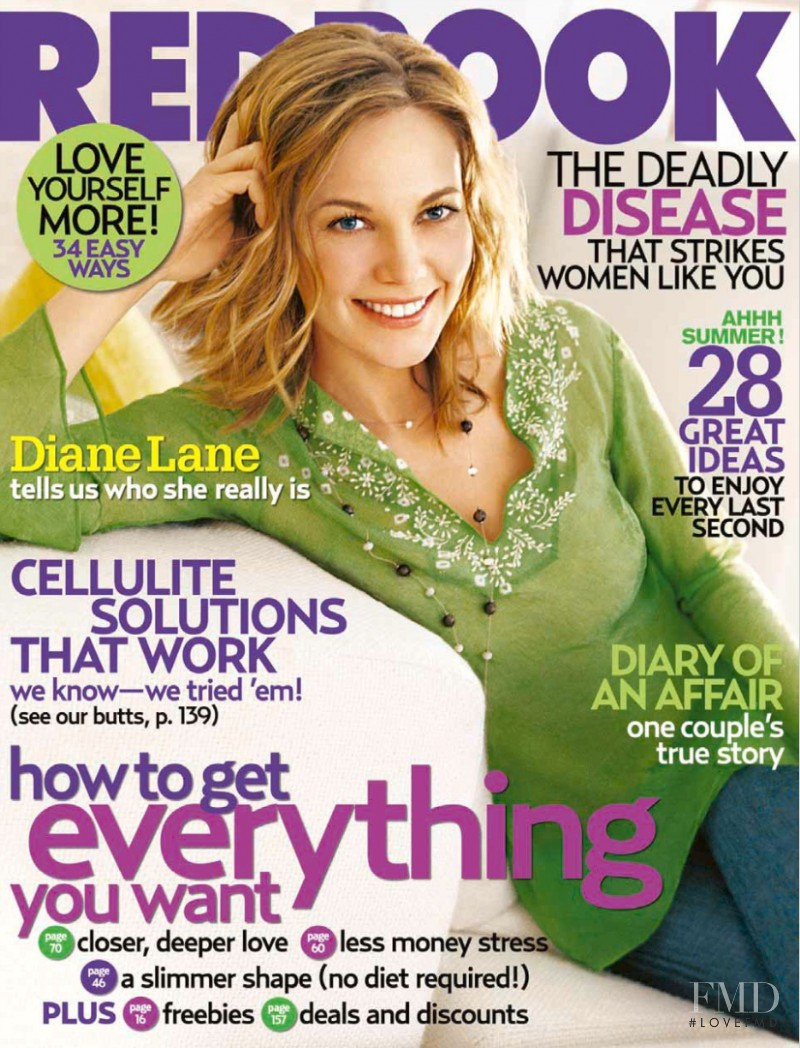 Diane Lane featured on the Redbook cover from August 2005