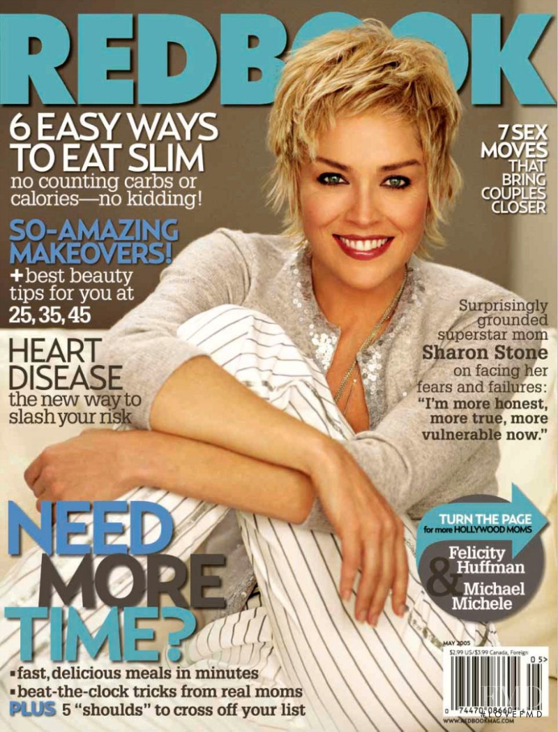 Sharon Stone featured on the Redbook cover from May 2005