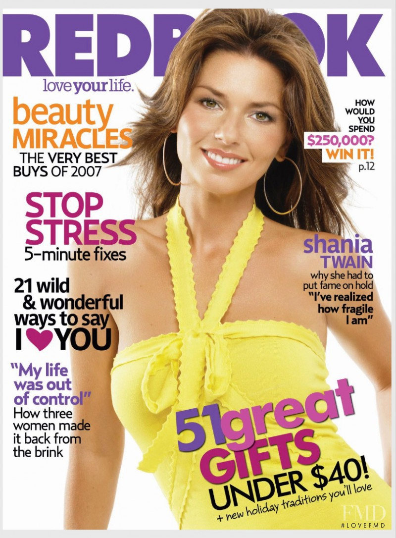 Shania Twain featured on the Redbook cover from December 2007