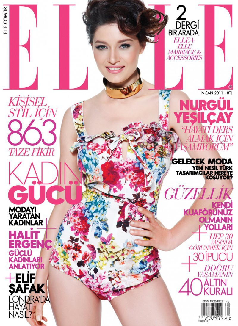 Nurgül Yeşilçay featured on the Elle Turkey cover from April 2011