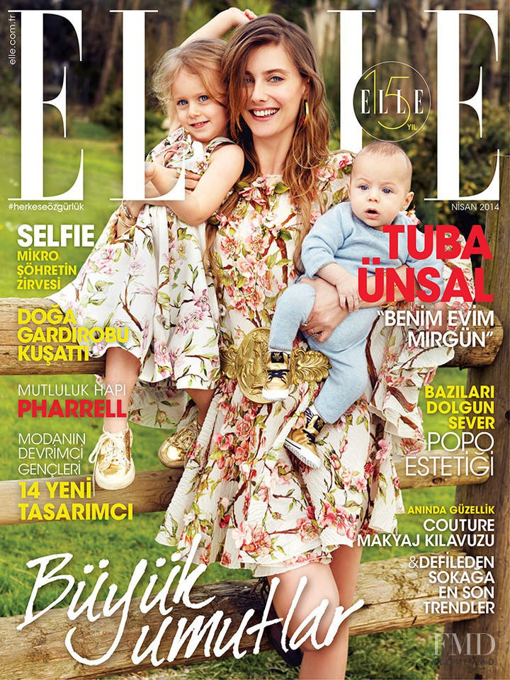 Tuba Ünsal featured on the Elle Turkey cover from April 2014
