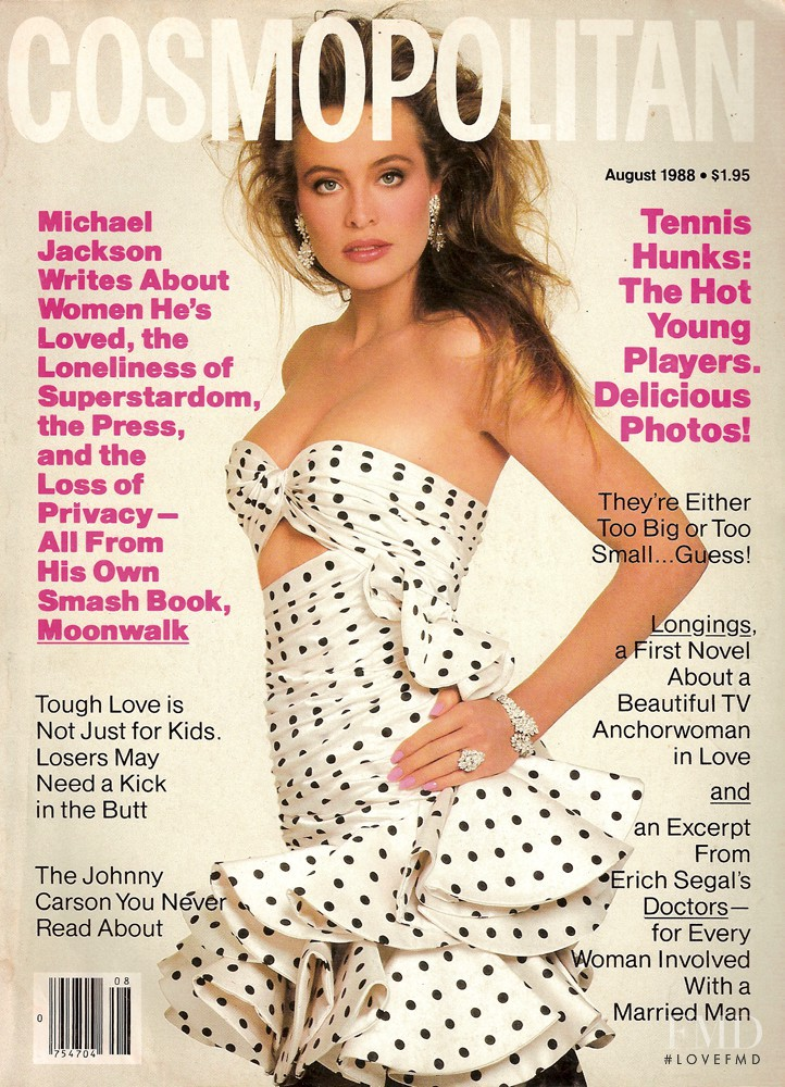 Frederique van der Wal featured on the Cosmopolitan USA cover from August 1988
