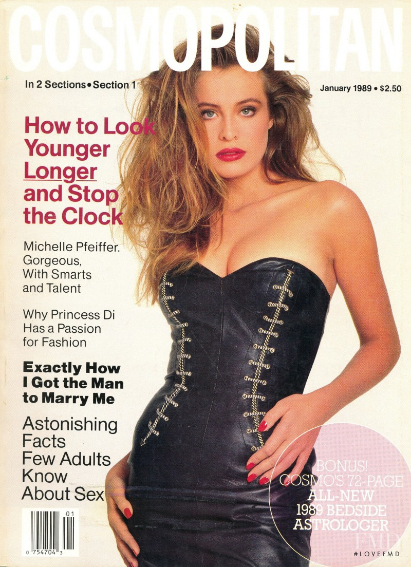 Frederique van der Wal featured on the Cosmopolitan USA cover from January 1989