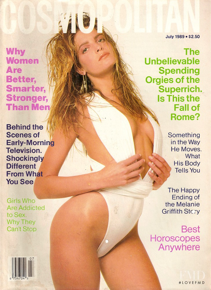 Stephanie Seymour featured on the Cosmopolitan USA cover from July 1989