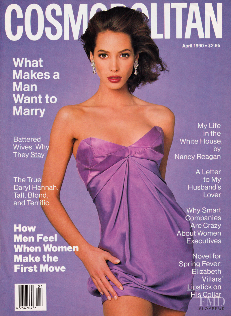 Christy Turlington featured on the Cosmopolitan USA cover from April 1990