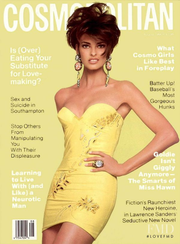 Linda Evangelista featured on the Cosmopolitan USA cover from August 1990