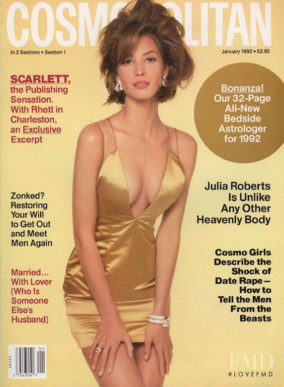 Christy Turlington featured on the Cosmopolitan USA cover from January 1992