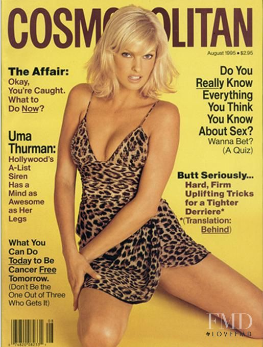 Linda Evangelista featured on the Cosmopolitan USA cover from August 1995