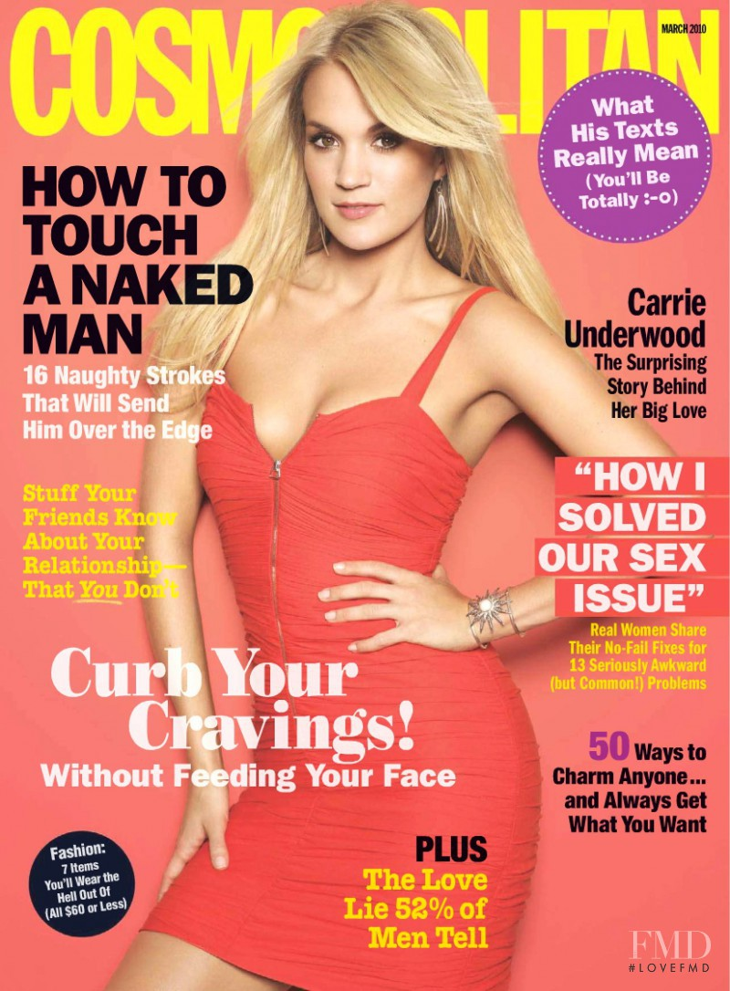 Carrie Underwood featured on the Cosmopolitan USA cover from March 2010