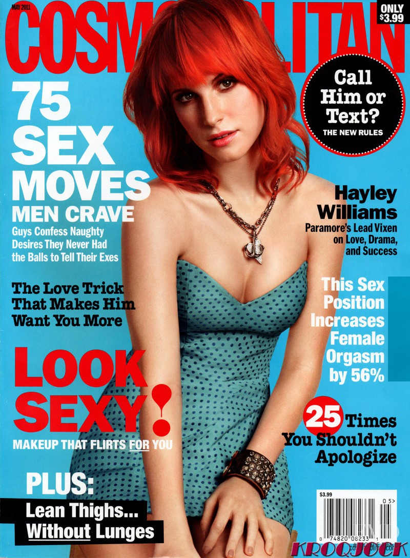 Hayley Williams featured on the Cosmopolitan USA cover from May 2011