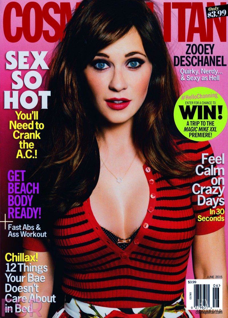 Zooey Deschanel featured on the Cosmopolitan USA cover from June 2015