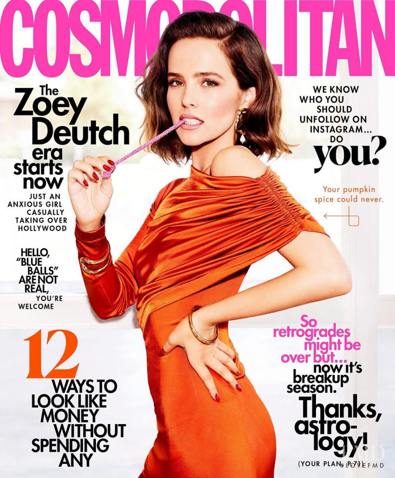 Zoey Deutch featured on the Cosmopolitan USA cover from November 2019