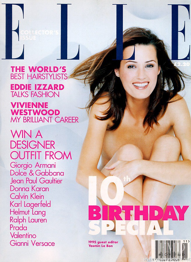 Yasmin Le Bon featured on the Elle UK cover from November 1995