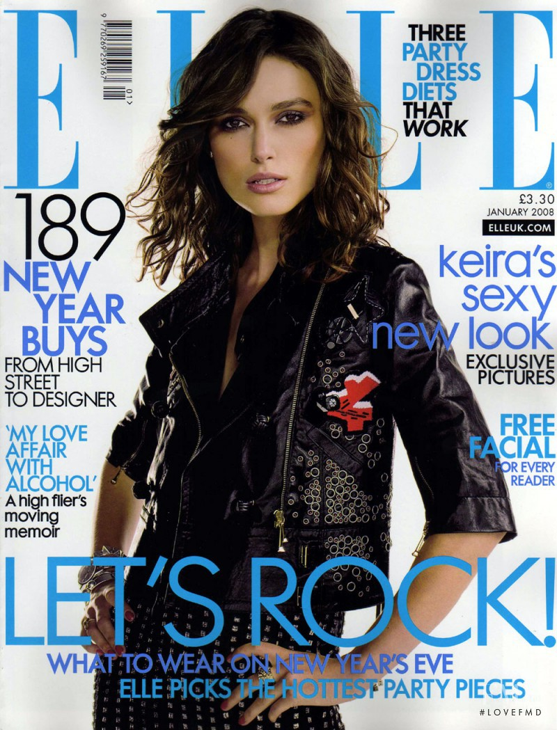Keira Knightley featured on the Elle UK cover from January 2008