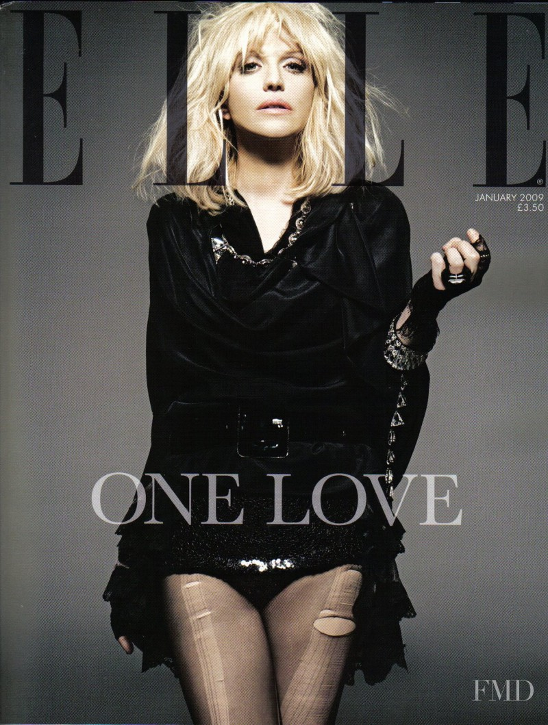 Courtney Love featured on the Elle UK cover from January 2009
