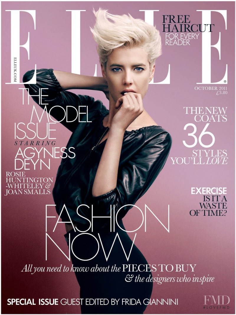 Agyness Deyn featured on the Elle UK cover from October 2011