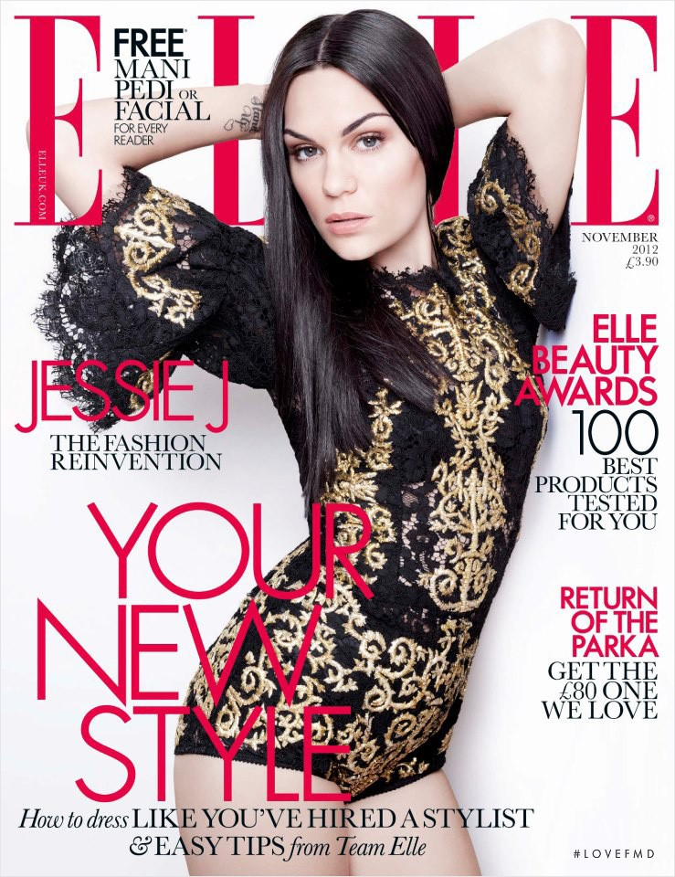 Jessie J featured on the Elle UK cover from November 2012