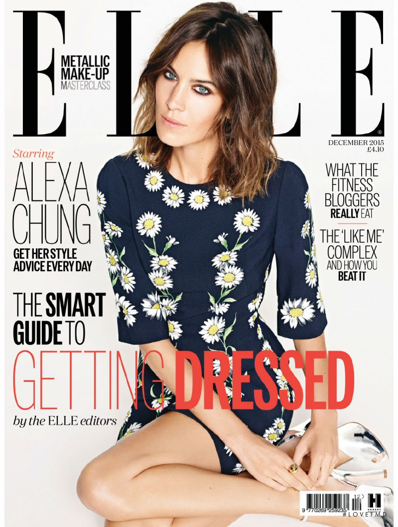 Alexa Chung featured on the Elle UK cover from December 2015