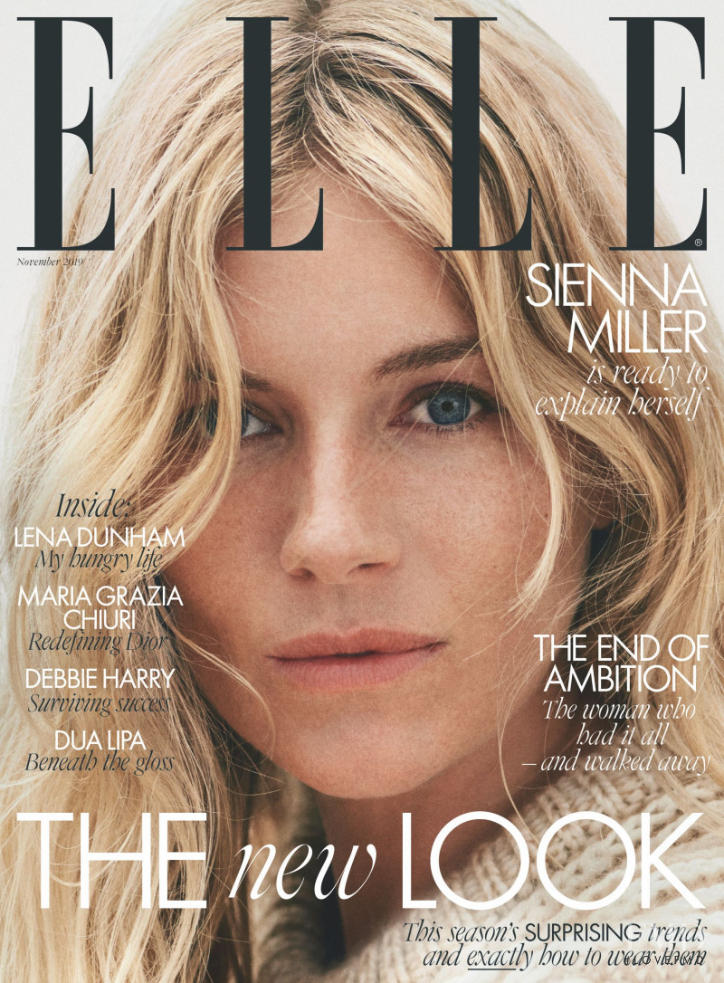 Sienna Miller featured on the Elle UK cover from November 2019