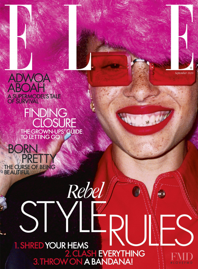 Adwoa Aboah featured on the Elle UK cover from September 2020