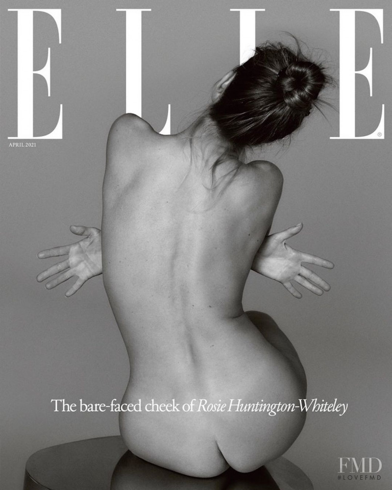 Rosie Huntington-Whiteley featured on the Elle UK cover from April 2021