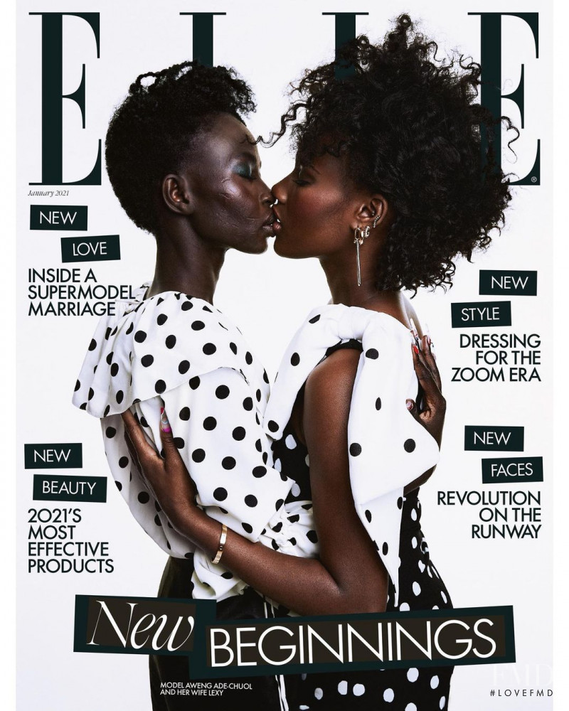 Aweng Chuol featured on the Elle UK cover from January 2021