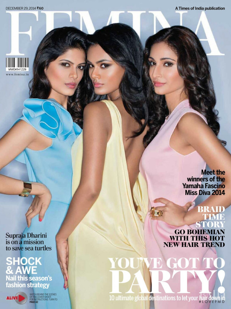 Asha Bhat, Noyonita Lodh, Alankrita Sahai featured on the Femina India cover from December 2014
