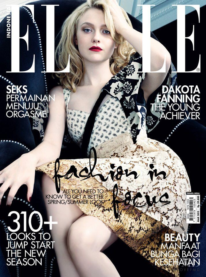 Dakota Fanning featured on the Elle Indonesia cover from March 2012