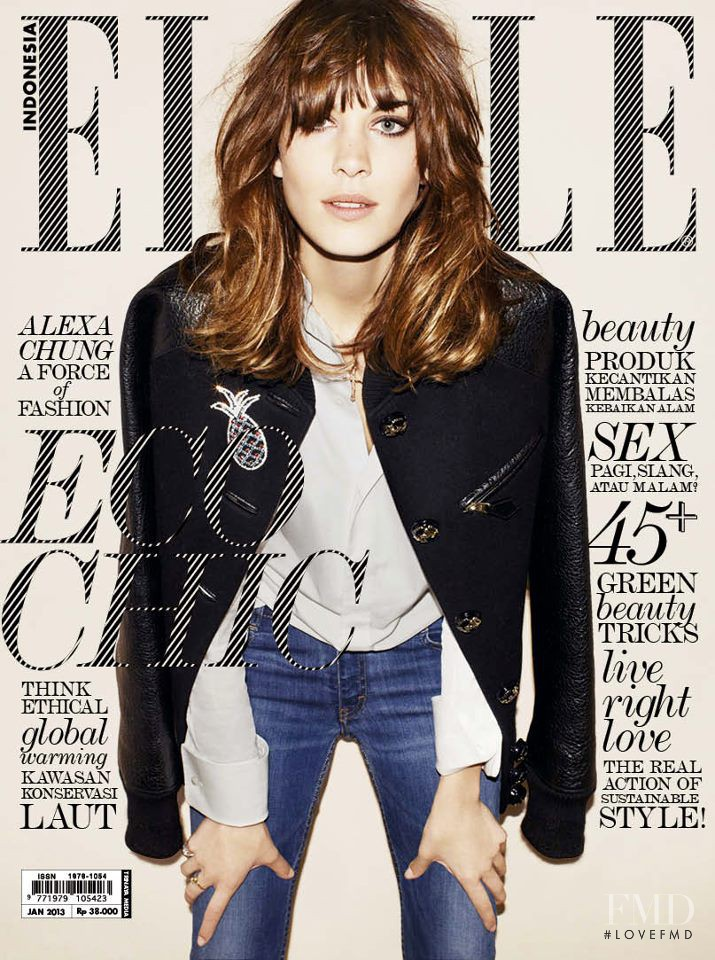 Alexa Chung featured on the Elle Indonesia cover from January 2013