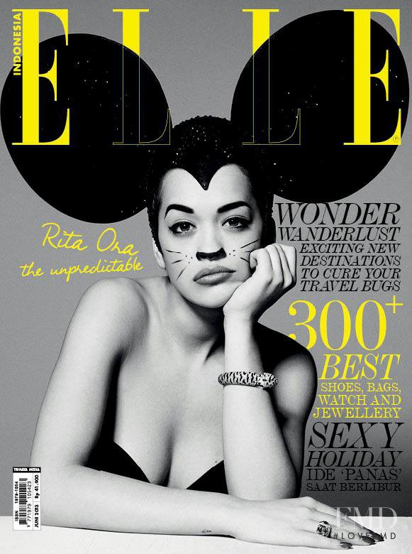 Rita Ora featured on the Elle Indonesia cover from June 2013