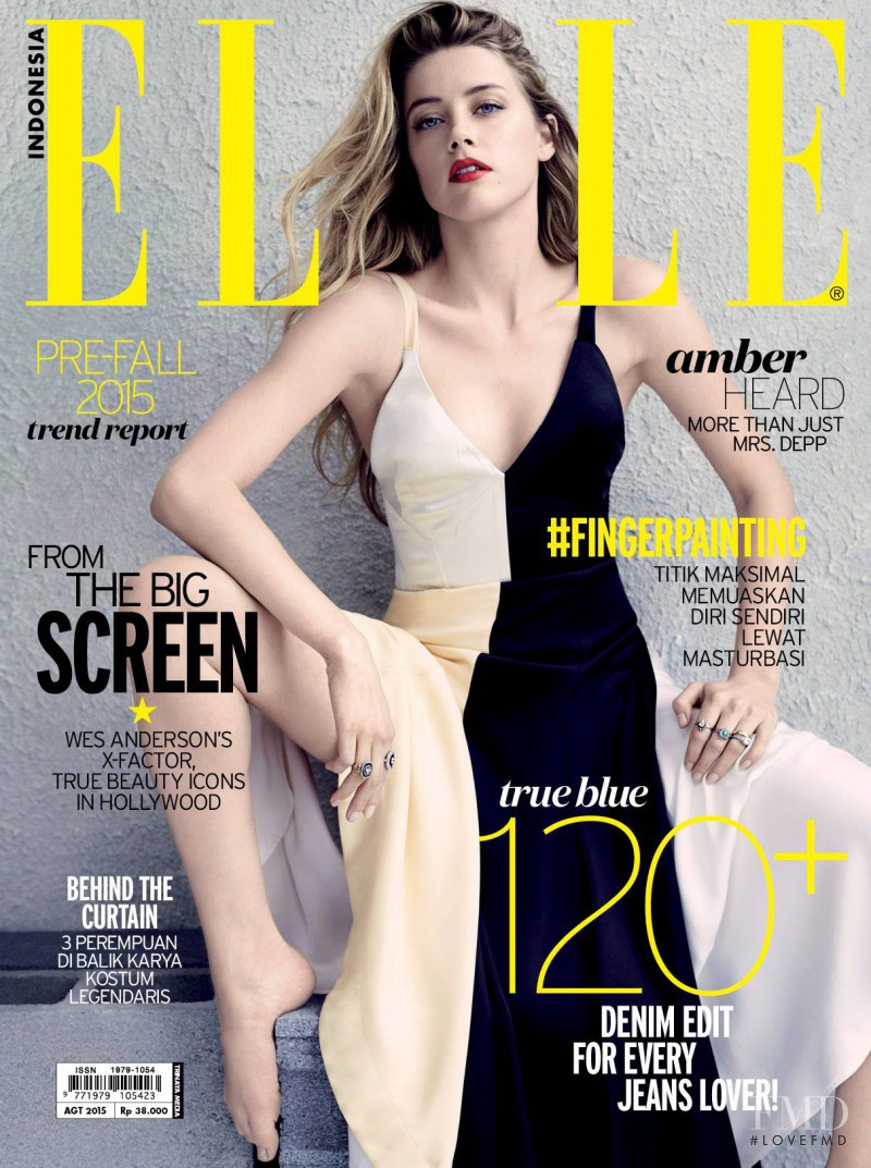 Amber Heard featured on the Elle Indonesia cover from August 2015