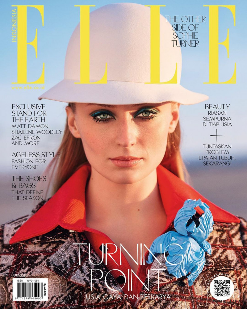 Sophie Turner featured on the Elle Indonesia cover from April 2020