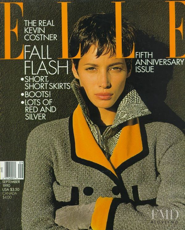 Christy Turlington featured on the Elle USA cover from September 1990