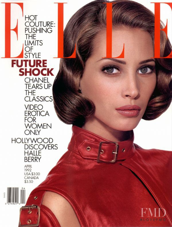 Christy Turlington featured on the Elle USA cover from April 1992