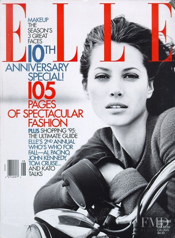 Christy Turlington featured on the Elle USA cover from September 1995