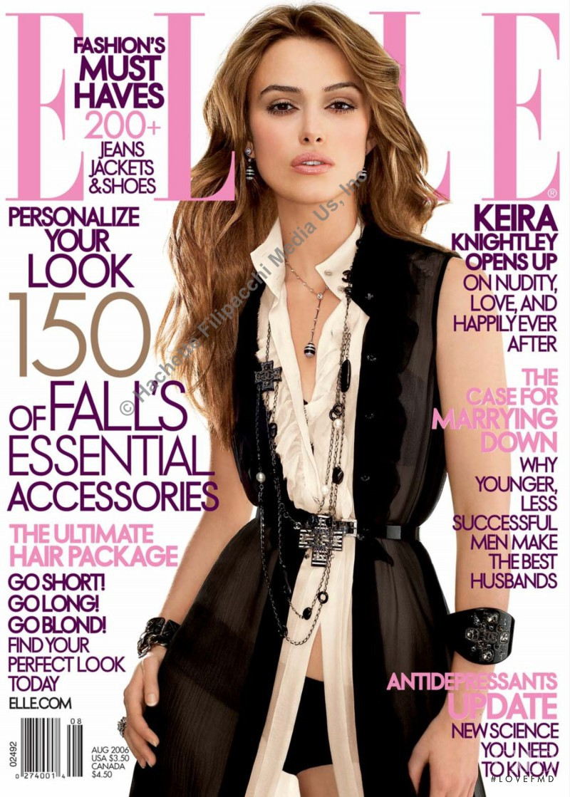 Keira Knightley featured on the Elle USA cover from August 2006