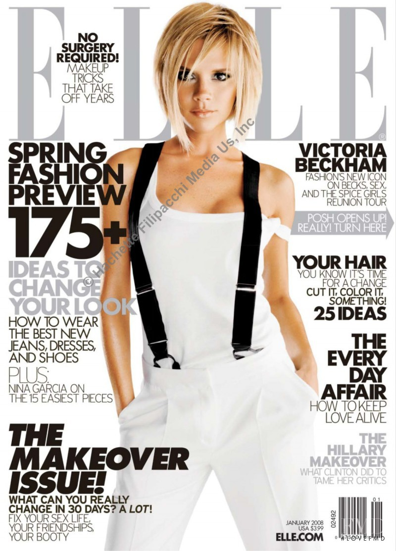 Victoria Beckham featured on the Elle USA cover from January 2008