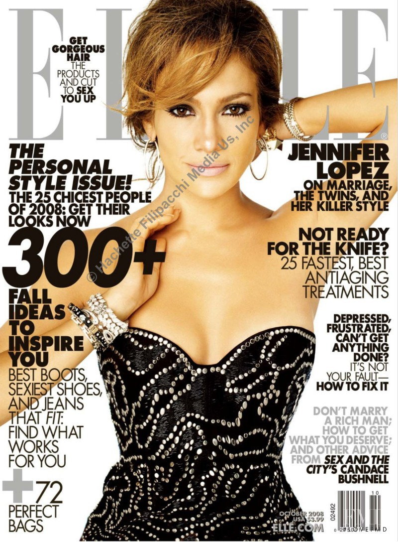 Jennifer Lopez featured on the Elle USA cover from October 2008