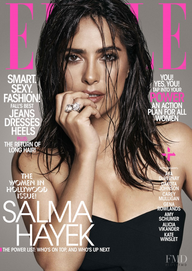 Salma Hayek  featured on the Elle USA cover from November 2015