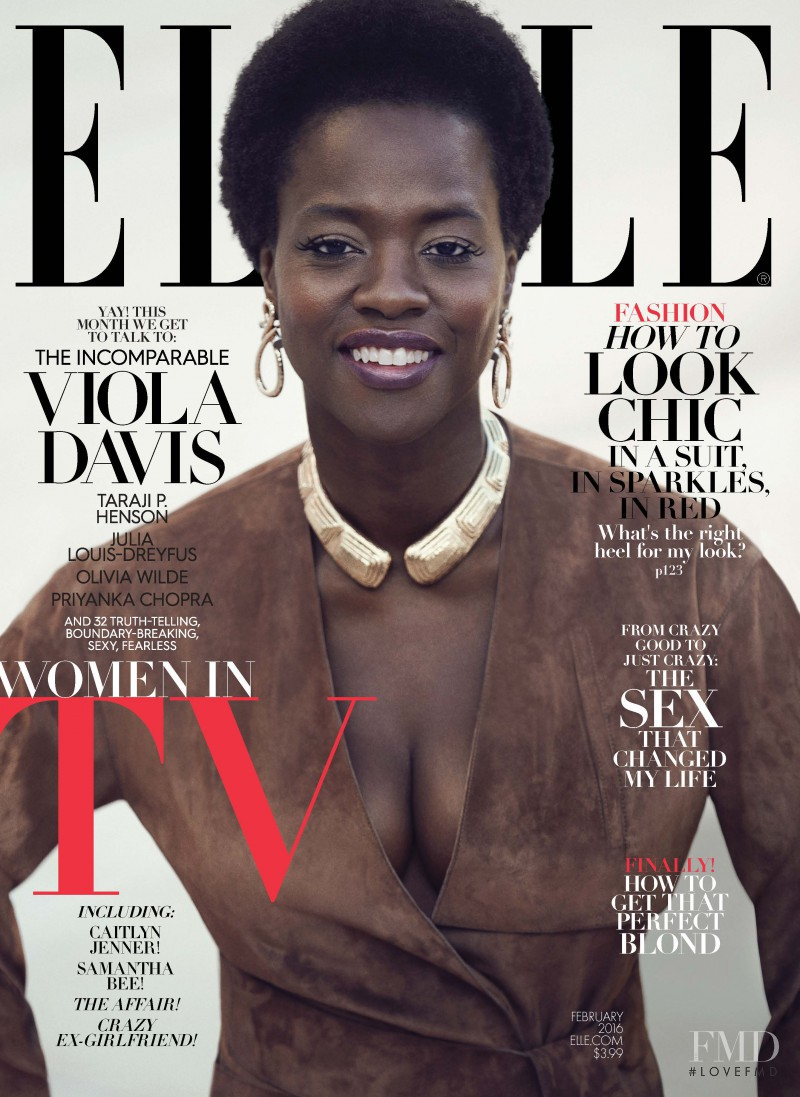 Viola Davis featured on the Elle USA cover from February 2016