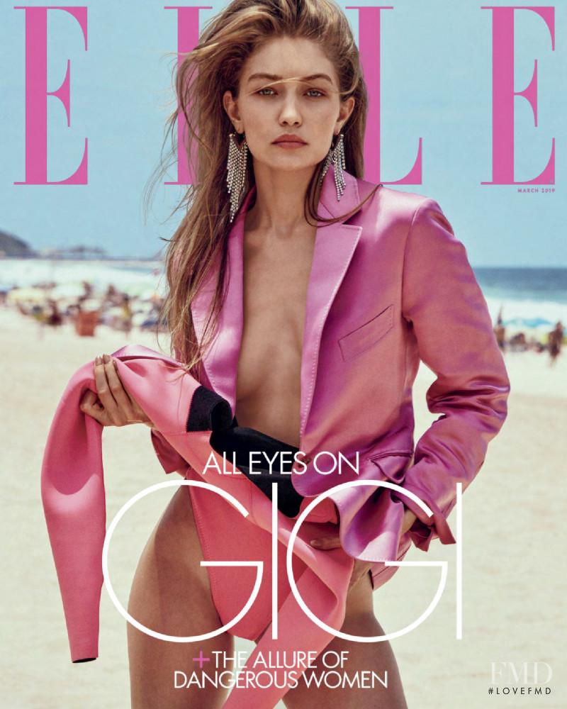 Gigi Hadid featured on the Elle USA cover from March 2019