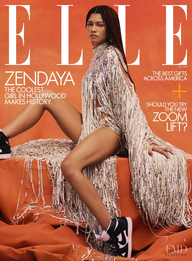 Zendaya featured on the Elle USA cover from December 2020