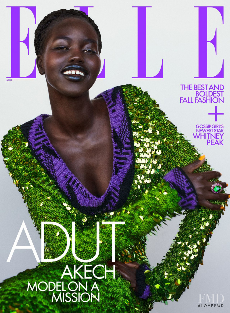 Adut Akech Bior featured on the Elle USA cover from August 2021