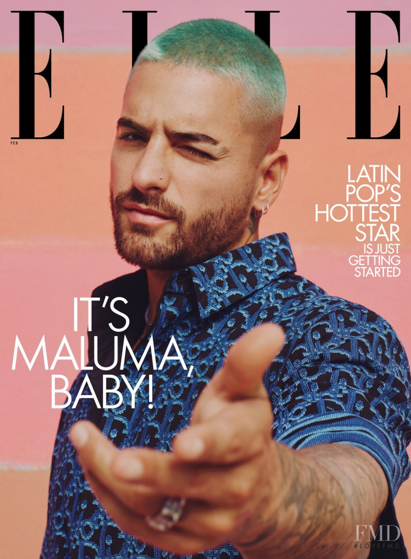Maluma featured on the Elle USA cover from February 2021