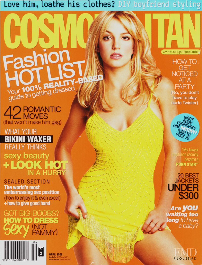 Britney Spears featured on the Cosmopolitan Australia cover from April 2002