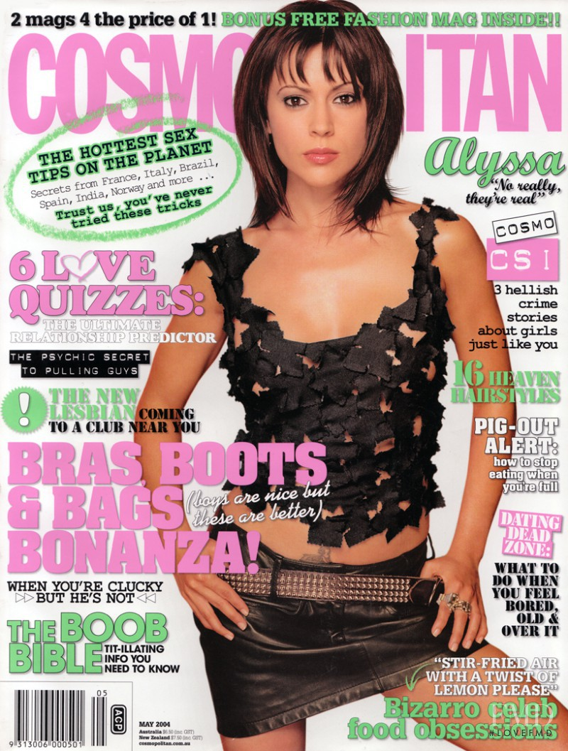 Alyssa featured on the Cosmopolitan Australia cover from May 2004