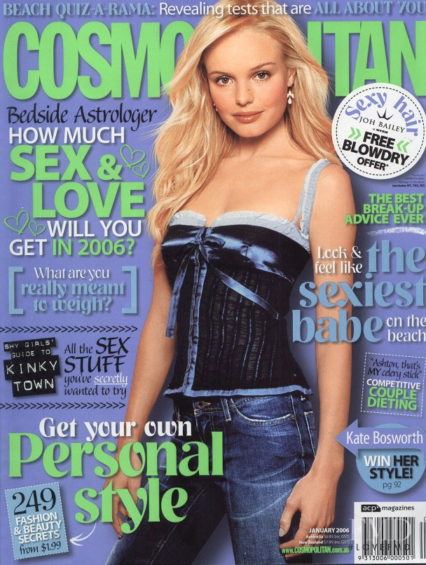 Kate Bosworth featured on the Cosmopolitan Australia cover from January 2006
