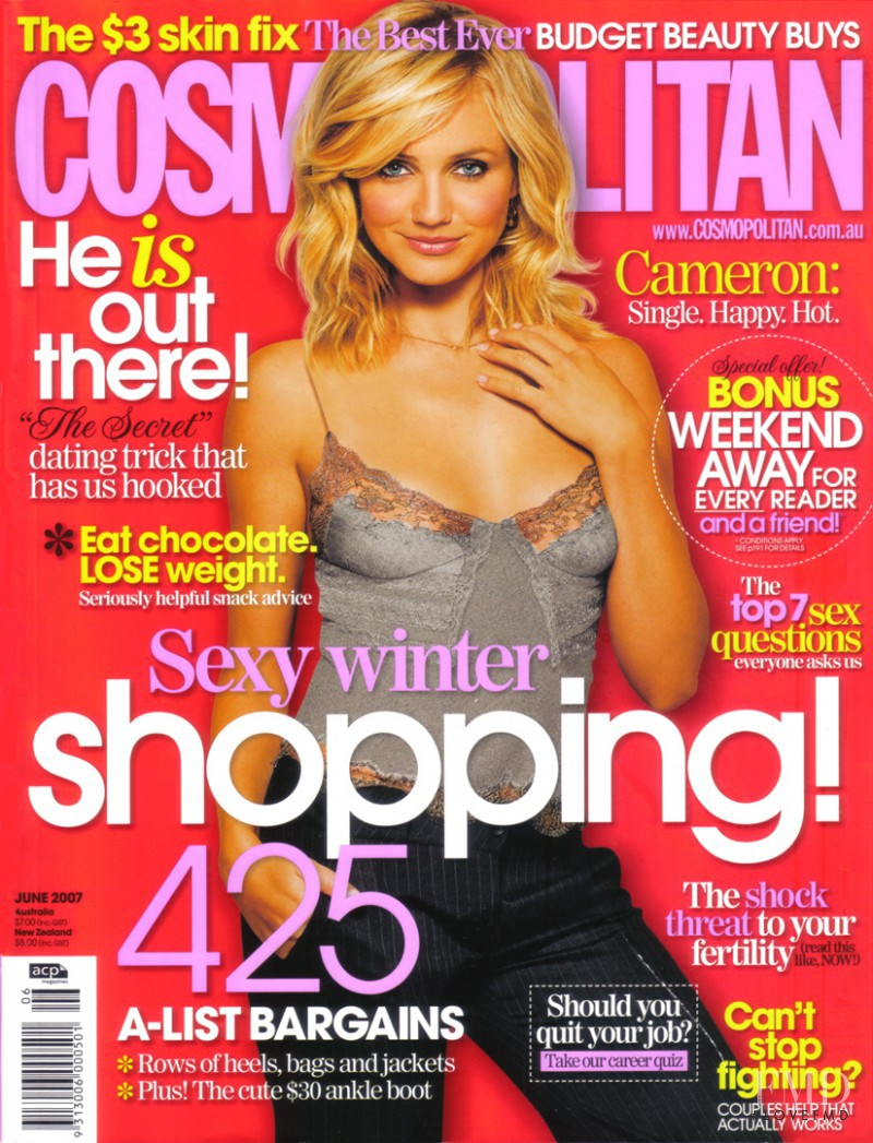 Cameron Diaz featured on the Cosmopolitan Australia cover from June 2007