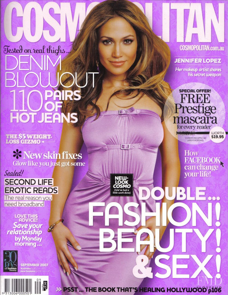 Jennifer Lopez featured on the Cosmopolitan Australia cover from September 2007
