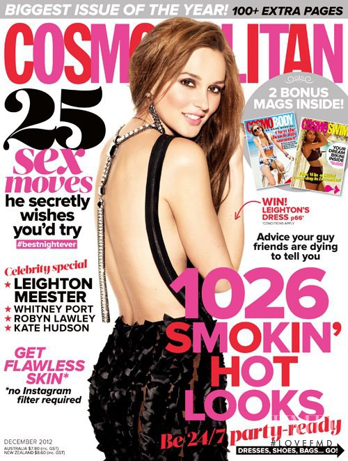 Leighton Meester featured on the Cosmopolitan Australia cover from December 2012